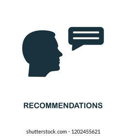 Recommendations icon. Monochrome style design from business ethics collection. UX and UI. Pixel perfect recommendations icon. For web design, apps, software, printing usage.