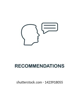 Recommendations icon. Thin line design symbol from business ethics icons collection. Pixel perfect recommendations icon for web design, apps, software, print usage.
