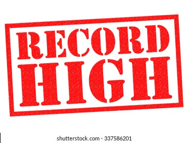 RECORD HIGH red Rubber Stamp over a white background.