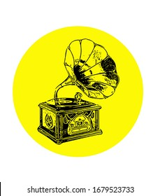 record player icon black and yellow