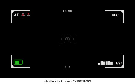 A recording camera viewfinder. Computer-generated, but with the shadows and subtleties of the real thing. Includes an EQ. Black background.