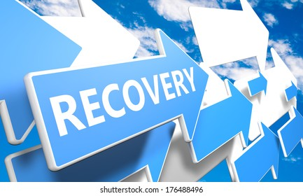 Recovery 3d render concept with blue and white arrows flying upwards in a blue sky with clouds