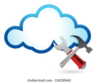 Recovery concept with cloud computing illustration design over white