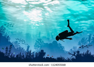 Recreational scuba diver in bright clear water illustration. Hand drawn silhouettes