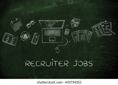 recruiter jobs: desk with mixed resumes and shortlists for the job offer on laptop screen