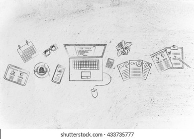 recruiter's desk with mixed resumes and shortlists for the job offer on laptop screen