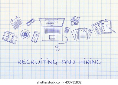 recruiting and hiring: desk with mixed resumes and shortlists for the job offer on laptop screen