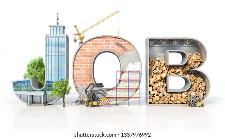 Recruitment concept. Different areas of activity in form of word job. 3d illustration