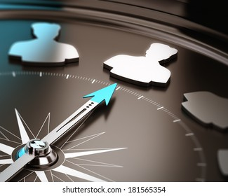 Recruitment or hiring qualified candidate concept. Compass needle pointing a talent symbol over a brown and blue background with focus and blur effect.