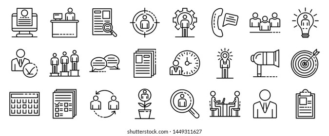Recruitment icons set. Outline set of recruitment icons for web design isolated on white background