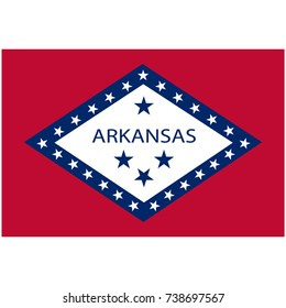 Rectangle Arkansas state flag raster icon isolated on white background. USA Arkansas state flag button