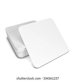 Rectangle coasters. 3d illustration isolated on white background