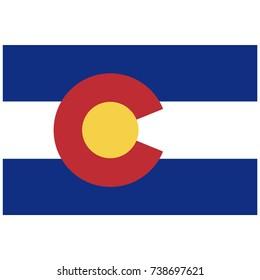 Rectangle Colorado state flag raster icon isolated on white background. USA Colorado state flag button