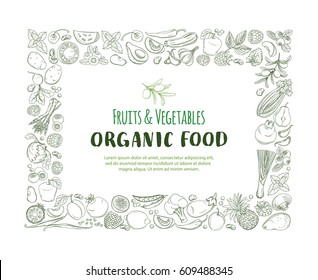 Rectangle Frame border pattern of groceries organic farm fresh fruits and vegetables. illustration frame. Outline line flat style design. White backdrop.