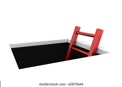 a rectangle hole in the white ground - metallic red ladder to climb out