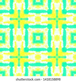 Rectangle Pattern. Ethnic Ornament with Green and Yellow Quadrangles. Drawn by Hand Illustration. Aquarelle Vintage Swimwear. Seamless Watercolor Rectangle Pattern.
