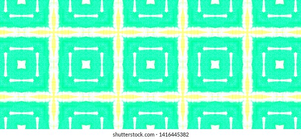 Rectangle Pattern. Ethnic Print with Green and Yellow Quadrangles. Ornamental Illustration. Tie-Dye Aquarelle Texture Design. Seamless Watercolor Rectangle Pattern.