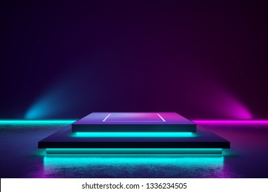 Rectangle stage and purple neon light , abstract futuristic  background, ultraviolet concept, 3d render
