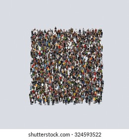 rectangle symbol Large group of people, crowd forming various shapes across surface on grayish constant background for posters and advertisement.