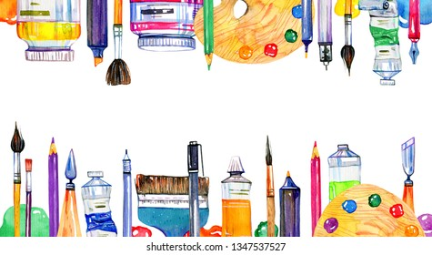 Rectangular frame with artist materials on top and bottom - palettes, palette knives, brushes, pens and tubes. Hand drawn sketch watercolor illustration isolated on white background