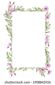 Rectangular frame with pink flowers on a white background