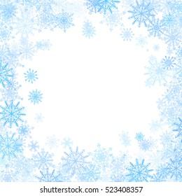 Rectangular frame with small blue snowflakes layered around