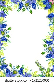 rectangular frame from watercolor spring flowers cherry, hyacinth, muscari and periwinkle