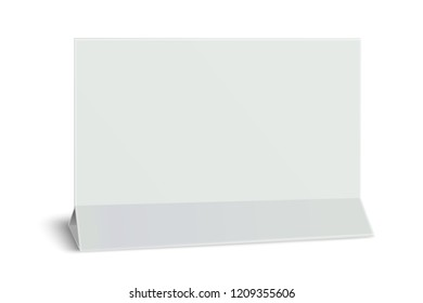 Rectangular horizontal blank paper table card isolated on white. Paper mock-up.