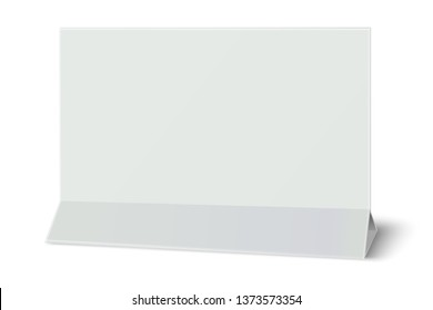 Rectangular horizontal blank paper table card isolated on white background. Paper template. 3D illustration.
