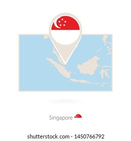 Rectangular map of Singapore with pin icon of Singapore, raster copy.