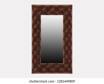 Rectangular mirror cloth capitone on a white background 3d rendering