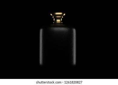 rectangular perfume bottle with gold cap. 3D illustration