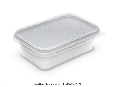 Rectangular plastic container with foil and transparent lid for butter, yoghurt or melted cheese. Perspective view isolated over a white background. Packaging mockup 3d illustration.
