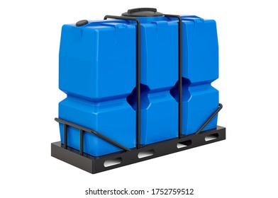 Rectangular Water Storage Tank with plastic skeleton and pallet, 3D rendering isolated on white background
