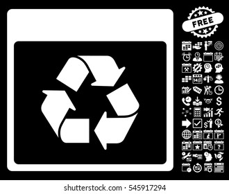 Recycle Calendar Page icon with bonus calendar and time management graphic icons. Glyph illustration style is flat iconic symbols, white, black background.