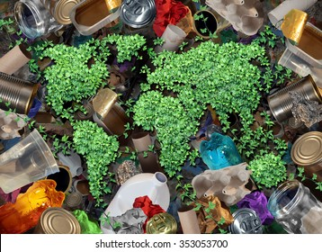 Recycle global rubbish for the environment and garbage concept or recycling waste management icon with old paper glass metal and plastic household products to be reused helping with conservation.
