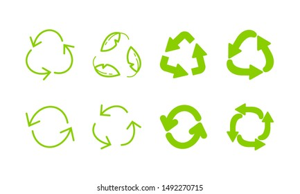 Recycle green eco arrows icon set. Recycling symbol. Rotation reload refresh circle cycle arrow signs.