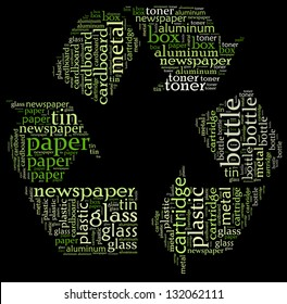Recycle icon with describing text