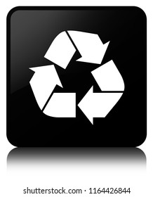 Recycle icon isolated on black square button reflected abstract illustration