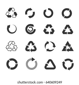 Recycle icons set. Triangle and round emblems for conservation and saving illustration