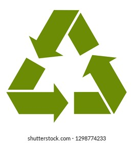 Recycle Logo stylized flat green paper origami icon for products and packages isolated on white background. illustration