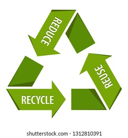 Recycle Logo stylized green paper origami icon for products and packages with text recycle reuse reduce isolated on white background. illustration