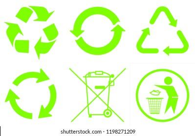 Recycle round icon set on white background