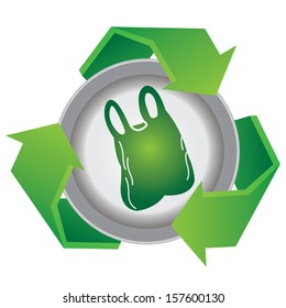 Recycle, Save The Earth or Stop Global Warming Concept Present By Green Recycle Sign With Plastic Bag Icon Inside Isolated on White Background