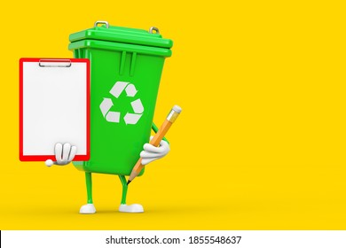 Recycle Sign Green Garbage Trash Bin Character Mascot with Red Plastic Clipboard, Paper and Pencil on a yellow background. 3d Rendering