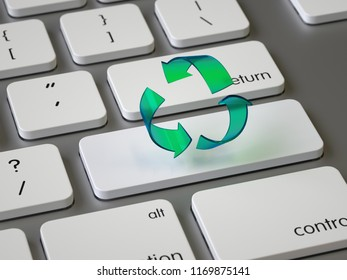 Recycle sign on the keyboard, 3d rendering,conceptual image