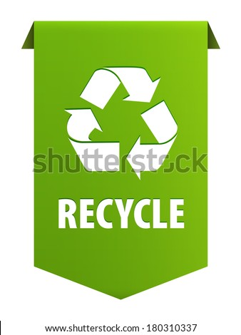 Recycle Symbol Text Recycle Green Ribbon Stock Illustration