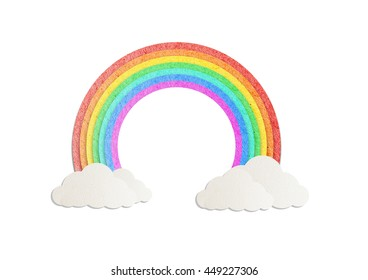 recycled paper rainbow on white background