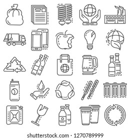 Recycles icon set. Outline set of recycles icons for web design isolated on white background