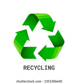 Recycling. Green recycle eco symbol. Recycled arrows sign. Cycle recycled icon. Environment protection icon isolated on white background